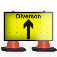 Diversion Ahead Cone Sign