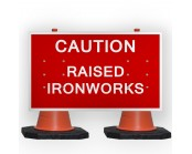 Caution Raised Ironworks Cone Sign