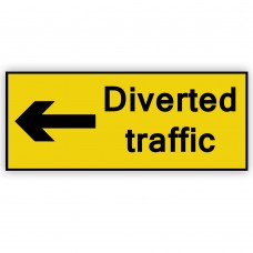 Diverted Traffic Left Plate 1050mm x 450mm