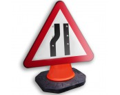 Road Narrows Nearside Cone Sign 600mm