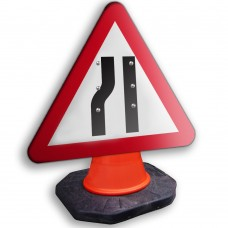 Road Narrows Nearside Cone Sign 750mm
