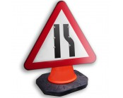 Road Narrows Offside Cone Sign 600mm