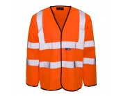 Orange High Visibility Long Sleeve Waistcoat