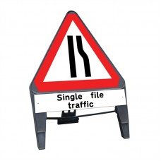 Road Narrows Offside c/w Single File Traffic Q Sign