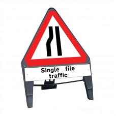 Road Narrows Nearside c/w Single File Traffic Q Sign