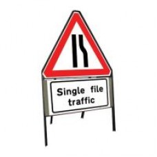 600mm Road Narrows Offside & Single File Traffic Sign