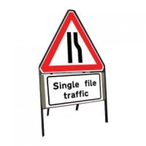 600mm Road Narrows Offside Amp Single File Traffic Sign