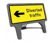 Diverted Traffic Left Q Sign