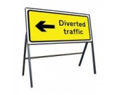 Diverted Traffic Left Sign 1050mm x 450mm