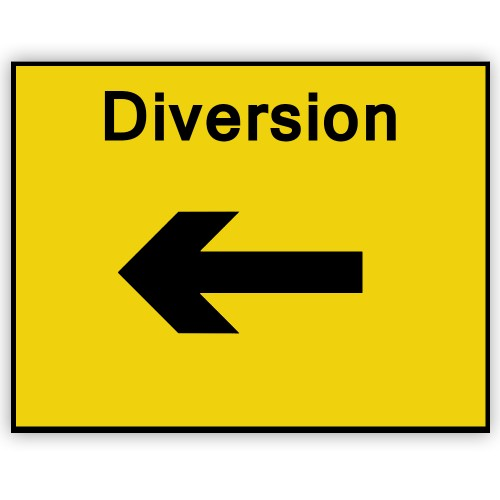 Diversion Left Plate 1050mm X 750mm Manchester Safety