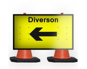 Diversion Left Cone Sign