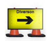 Diversion Right Cone Sign