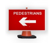 Pedestrians Left Cone Sign