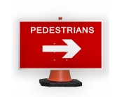 Pedestrians Right Cone Sign
