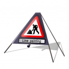 Roadworks Ahead c/w Line Painting Roll Up Sign