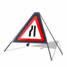 Road Narrows Nearside Roll Up Sign