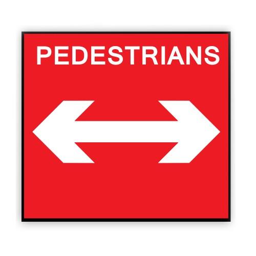 Pedestrians Reversible Arrow Plate 600mm X 450mm