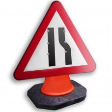 Road Narrows Offside Cone Sign 750mm