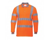 Orange High Visibility Long Sleeve Polo Shirt