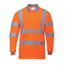 Orange High Visibility Long Sleeve Polo Shirt