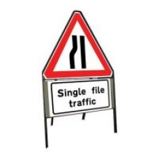 600mm Road Narrows Nearside and Single File Traffic Sign