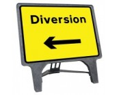 Diversion Left Q Sign