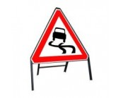 750mm Slippery Road Ahead Sign